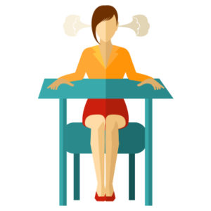 idle woman at desk - Using paper wastes time and money